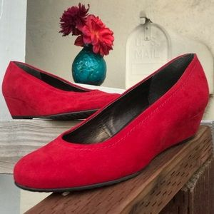 Jenny by Ara Red Suede Wedges